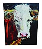 Creative Co-Op Canvas Plaque with Cow by Creative Co-Op