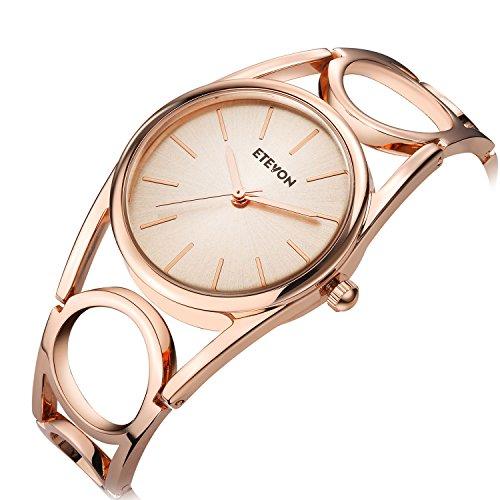 ETEVON Frauen Quarz Rose Gold Armbanduhr mit Runden Hohlen Armband Rostfreier Stahl Wasserdicht, Mode Luxus Verkleiden Armbanduhren für Damen - 4