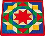 Small Foot by Legler Mosaik mit 80 bunten Steinen und einem Basisbrett aus Holz, geometrische Formen werden in einem Rahmen platziert, die Kinder beschäftigen sich spielerisch mit Formen und Farben