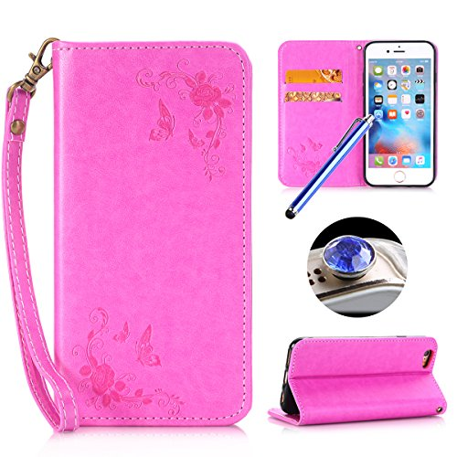 Etsue iPhone SE Cover,iPhone 5S Custodia in Pelle,Diamante&Strass Bling/Sparkle/Glitter Lusso Style Fiori Butterfly Modello Artificiale Leather PU Puro Portafoglio Case Cover,Wallet/Libro/Flip Protett #Rose rossa