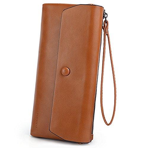UTO Damen Wristlet Brieftasche Große Kapazität Wachs PU Leder Kartensteckplatz Zipper Phone Holder Geldbörse Brown