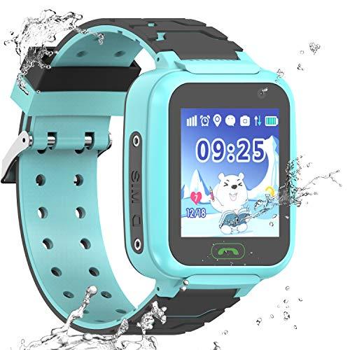 wasserdichte Smartwatch für Kinder, GPS, LBS WiFi-Positionierung, 3,6 cm Touchscreen, Armbanduhr mit Anruf, Sprache, Chat, Kamera, Schrittzähler, Wecker, Geschenk für Jungen (Blau)