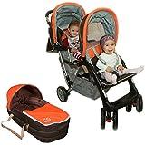 Exclusivo Tandem -Cochecito gemelos naranja - BambinoWorld