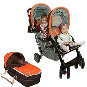 Poussette double sport orange Top Design - BambinoWorld