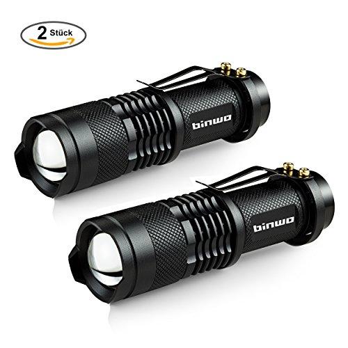 LED Taschenlampe, Binwo Kleine Taschenlampen Outdoor 350 Lumen, Ultraleichte Taktische Taschenlampe ideal für Camping Außen Aktivitäten oder Geschenk, 2er Pack (Batterie wird nicht mitgeliefert)