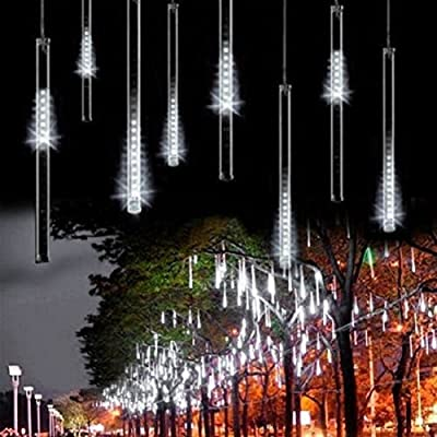 LED Meteor Shower Rain Lights - SurLight Falling Rain Drop Christmas Lights, Icicle Snow Fall Waterproof String Lights with 30CM 8 Tube 144 Leds for Holiday Xmas Tree New Year Halloween Wedding Party Decoration by SurLight
