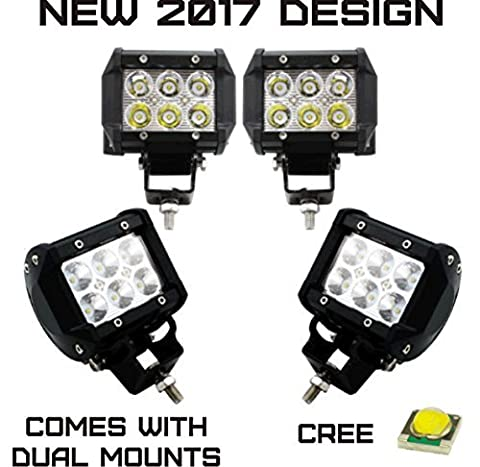 AXR No.1 4x 4 18W 2017 CREE LED Super Spot Work Lights for UTV SUV Off-Road Boats Jeeps RZR Driving Fog Light Rock and Bumper Light Comes with Dual Mounting Brackets (2 Pair) by AXR