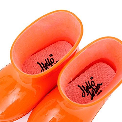 Bwiv bottes de pluie unisexes pour fille et garçon bottes unicolores en caoutchouc des tailles 21 à 29 Orange