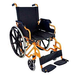 Self Propelling Folding Wheelchair   Model Giralda with Tubes in Orange   Steel   Lightweight   Width 43 cm