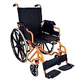 Fauteuil roulant pliant et autopropulsable | modèle Giralda avec tubes en Orange | acier | très légère | largeur 43cm