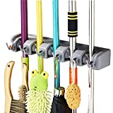 #3: Getko Wall Mounted Brush Broom and Mop Holder / Magic Holder Storage Tidy Organiser 5 Positions 6 Hooks Wall Rack