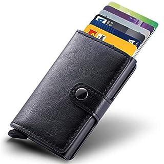 4813fe52a4b01 Kreditkartenetui Echtes Leder Kartenetui Geldklammer Portmonee Geldbeutel  mit RFID Schutz für Alltag (Schwarz)