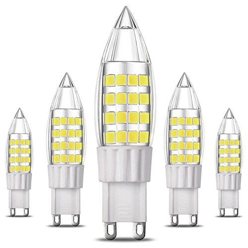 KINDEEP Energy Saver Ampoule LED, Culot G9 - 5W / 400LM ( Equivalent 40W Ampoules halogènes/ Incandescente ) Blanc Froid 6000K, LED en forme de bougie, 360° angle de faisceau, 220-240V, Lot de 5