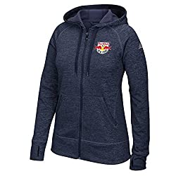 MLS New York Red Bulls Womens Primary Logo Left Chest Team Issue Full Zip Hood, Large, Collegiate Navy