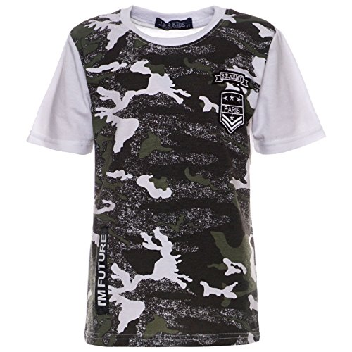 BEZLIT Jungen T-Shirt Kurz-Arm Shirts Short-Sleeve Camouflage Kinder Army Style 21765, Farbe:Weiß, Größe:140 (Jungen Kleid T-shirt Größe 18)