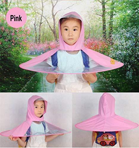 OOFAYWFD Creative Impermeable Paraguas Sombrero Gorro Gorra Exterior Niño Lluvia Abrigo Cubierta Transparente Paraguas,Pink