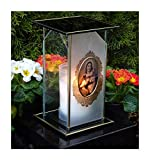 ♥ Design GRABLAMPE HEILIGE Maria Mutter JESU incl.GRABKERZE 22,0cm GRABSCHMUCK GRABLATERNE Laterne GRABLEUCHTE Friedhof Grablicht Kerze Lampe