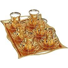 Juego de té turco para 6 – Vasos con soportes, platos, bandeja y cucharas de latón, 25 piezas (dorado).