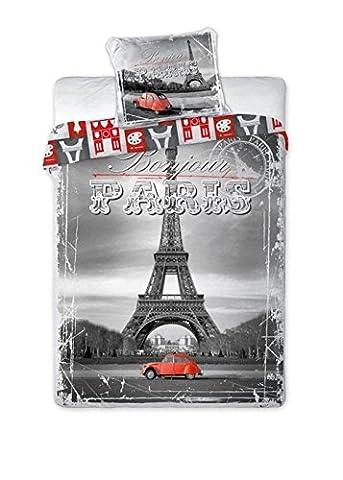 2CV ROUGE A PARIS LINGE DE LIT PARURE HOUSSE DE COUETTE 140x200 + TAIE 70x90 DÉCO CHAMBRE ADO 100% COTON