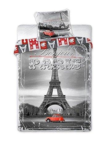Maxi & Mini Bettwäsche-Set, Motiv: 2CV in Paris, Rot Bettwäsche-Set, Bettbezug, 140 X 200 cm Kissenhülle, 70 Cm X 90 Cm, Für Kinder/Jugendliche; 100% Baumwolle (Paris Bettwäsche-set)