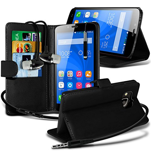 i-Tronixs ( Black ) Huawei Honor Holly Hülle Abdeckung Cover Case schutzhülle Tasche Premium Quality BookStyle PU Leather Wallet Flip With Credit / Debit Card Slot Case Skin Cover With LCD Screen Protector Guard, Polishing Cloth & Mini Retractable Stylus Pen Case Screen Guard
