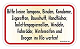 Bitte keine Tampons, Zigaretten, Damenbinden, Bauschutt... WC-Aufkleber Autoaufkleber Sticker Vinylaufkleber Decal