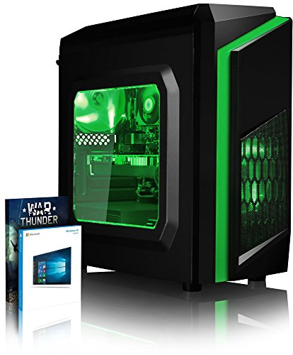 VIBOX Killstreak GL770-122 PC Gamer - 4,5GHz Intel i7 Quad Core CPU, GTX 1070, VR prêt, 4K, Avancée, Ordinateur PC de Bureau Gaming paquet de jeux, unité centrale, Windows 10, Éclairage Interne Vert (4,2GHz (4,5GHz Turbo) Processeur CPU Quad 4-Core Intel i7 7700K Kabylake Ultra Rapide, Carte Graphique Haute Performance Nvidia GeForce GTX 1070 8 Go, 16 Go Mémoire RAM DDR4 2133MHz Grande Vitesse, Disque Dur Sata III 7200rpm 1 To (1000 Go), PSU Aerocool 600W 85+, Boîtier Gamer CIT F3 Vert)