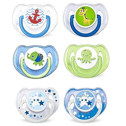 Philips Avent Schnuller // 6-16 Mo // Boy Mix // 6er Set // inkl. aufsteckbarer Hygienekappe