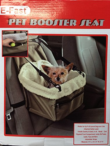 E-FAST Dog Cat Puppy Pet Car Booster Seat Travel Carrier Bag Cage Blanket Sheepskin Lining Chair with Front Zippered 2