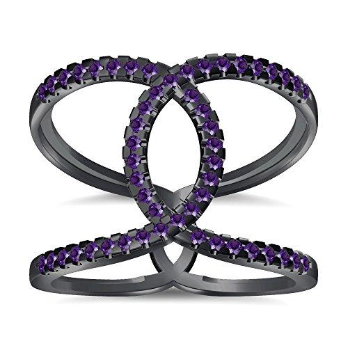 Silvernshine Halo Twist Amethyst CZ Diamond Engagement Ring 14k Black Gold Plated Bridal Ring Set