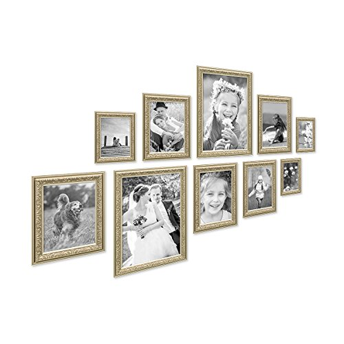 PHOTOLINI 10er Bilderrahmen-Set Antik Silber Nostalgie 10x15 bis 21x30 cm Fotorahmen mit...