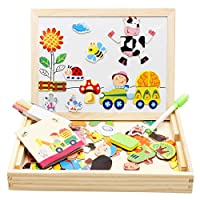 Lewo Wooden Magnetic Jigsaw Puzzles Educational Toys Art Easel Double Sided Drawing Board Game for Kids