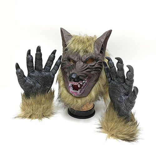 Milopon Wolfsmaske mit Handschuhe Halloween Maske Kostüm Gruselige Maske Latex Tiermaske Erwachsene für Halloween Party Kostüm Zubehör 28 * 26cm (Größe 26-28 Halloween-kostüme)