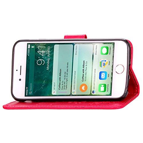 iPhone 7 Custodia, SATURCASE Clover Fortunato Pelle Sintetica Flip Magnetico Portafoglio Supporto [Slot per Schede] Protettivo Caso Case Custodia Cover per Apple iPhone 7 4.7 (Marrone) Rosa