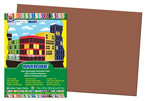 Pacon 103629 Riverside Construction Paper-- 76 -. 12 x 18 - Brown-50 hojas / paquete
