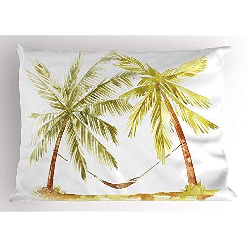 4 Stück 18X18 Zoll Beach Pillow Sham,Handgezeichnete Aquarell-Stil Design Von 2 Palmen Auf Einfachen Hintergrund,Home Decor Standard Queen Size Gedruckt Kissenbezug -