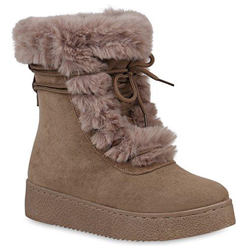 Damen Schuhe Stiefeletten Winter Boots Warm Gefütterte Stiefel Kunstfell 153278 Khaki 41 Flandell