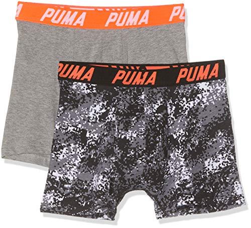 PUMA Boxer 2p Seasonal Pixel Camo Print Bañador, Gris Grey Mélange/Black 503, 7-8 años...