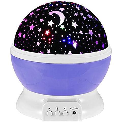 COOSA Cielo Estrella Noche lámpara Estrella de la lámpara de iluminación de 360 grados Habitación Romántica giratoria lámpara del proyector de la Noche (púrpura)