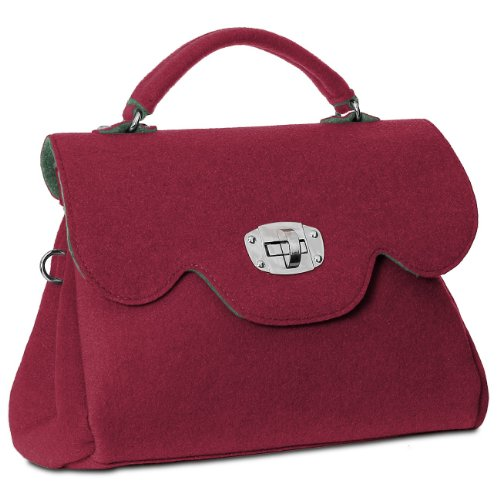 CASPAR Damen Tasche Filztasche mit kurzem Henkel und Schultergurt MADE IN ITALY - viele Farben - TS588 Weinrot