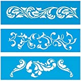(Satz von 3) 28cm x 8cm Flexibel Kunststoff Universal Schablone - Wand Airbrush Möbel Textil Decor Dekorative Muster Design Kunst Handwerk Zeichenschablone Wandschablone - Blätter Blumen Sommer