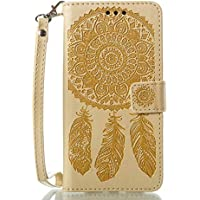 Bedddouuk LG G5 Leder Hülle,Retro Traumfänger Feder Muster Flip Leder Wallet Tasche Handyhülle im Bookstyle mit Standfunktion Kartenfach Schutzhülle für LG G5,Gelb