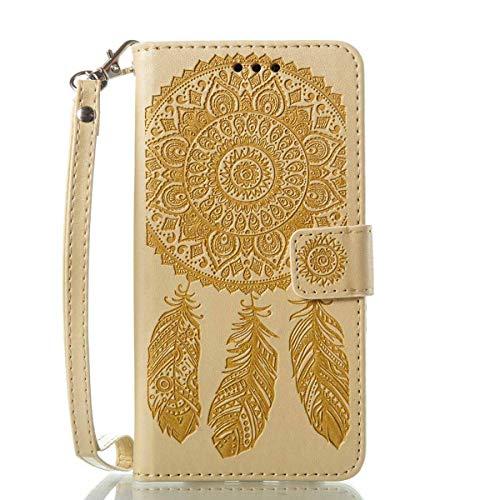 Bedddouuk Galaxy S6 Edge Leder Hülle,Retro Traumfänger Feder Muster Flip Leder Wallet Tasche Handyhülle im Bookstyle mit Standfunktion Kartenfach Schutzhülle für Samsung Galaxy S6 Edge,Gelb