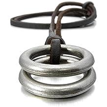 MunkiMix Aleación Genuina Cuero Colgante Collar Plata Doble Anillo Ring Vendimia Vintage Retro Ajustable 16~26 Pulgada Cadena Hombre ,Cadena
