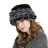 Soul Young Fellmütze Pelzmütze Damen mütze Wintermütze Faux Fuchs Pelz Warm Weich Leoparden Hut(Schwarz&Weiß)