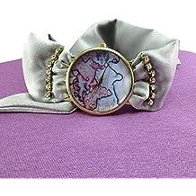 Orologio da polso mappamondo donna Cinturino di stoffa a fascia seta grigio chiaro Bracciale mappa