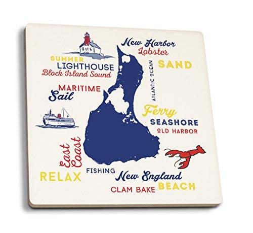 Block Island, Rhode Island-Schrift und Symbole (Primary Farben), keramik, mehrfarbig, 4 Coaster Set - Rhode Island Block Island