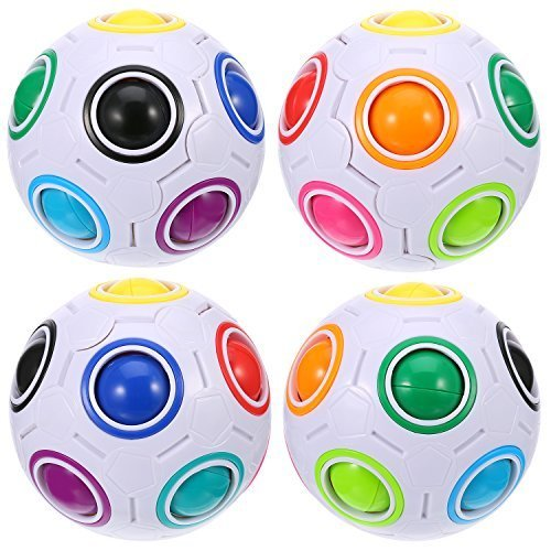 4 Packung Magic Rainbow Ball Puzzle Geschwindigkeit Cube Ball Spielzeug Denkaufgabe mit 11 Regenbogenfarben