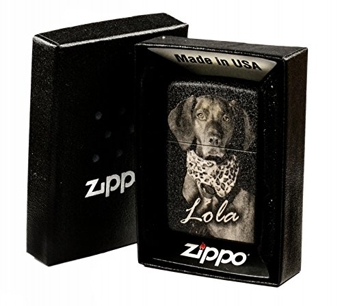 Original Zippo Feuerzeug mit EINSEITIGER Wunsch Gravur Fotogravur black schwarz matt