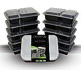 prepstor 2fach Lebensmittel Behälter mit Deckel, Bento/Lunch Box, unterteilten Teller. Gefrierschrank, Mikrowelle, & spülmaschinenfest, auslaufsicher, 10Stück
